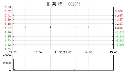 雪莱特(002076)行情走势图